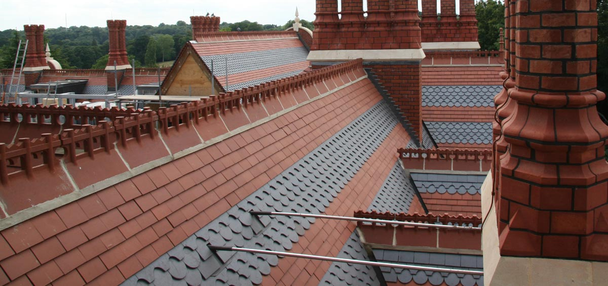 Athlone House in Hampstead with Staffs red and staffs blue plain and ornamental tiles