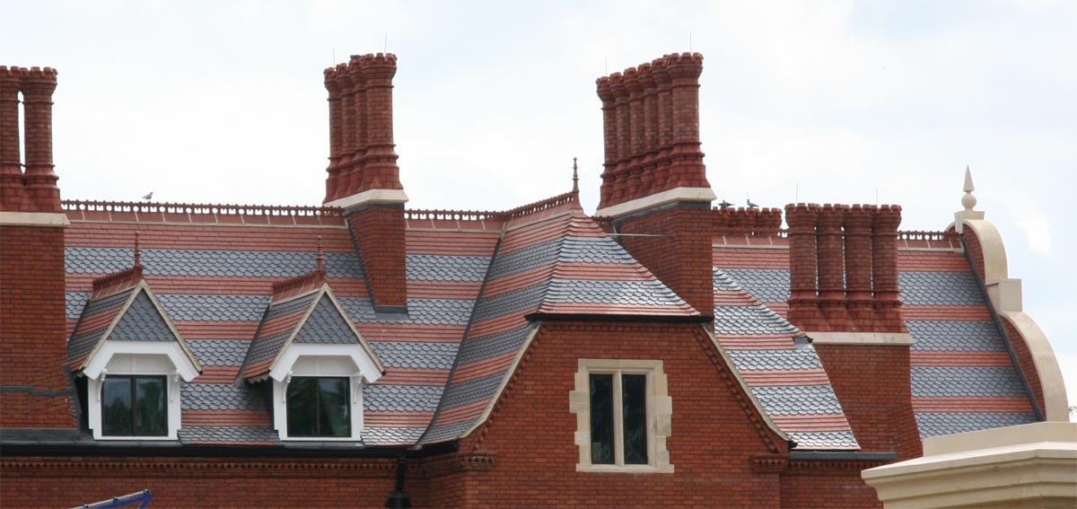 Athlone House in Highgate with Staffs red and staffs blue plain and ornamental tiles