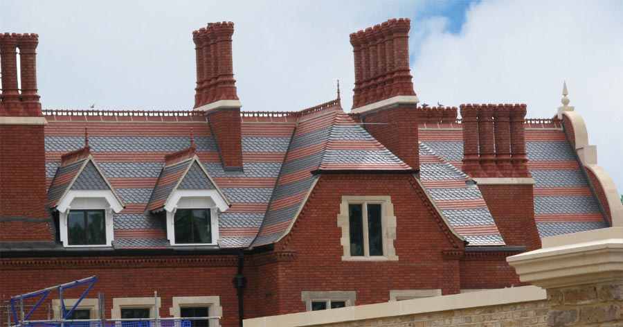 Athlone House in North London with Staffs red and staffs blue plain and ornamental tiles copy