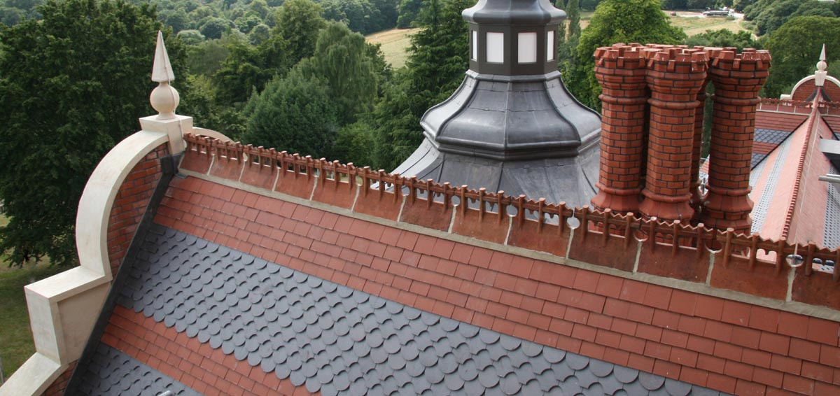 Athlone House reroof with Staffs plain and ornamental tiles and bespoke ridges