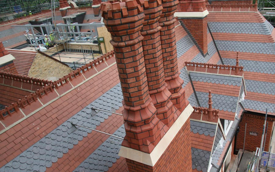 Athlone House reroof with Staffs red and staffs blue plain and ornamental tiles