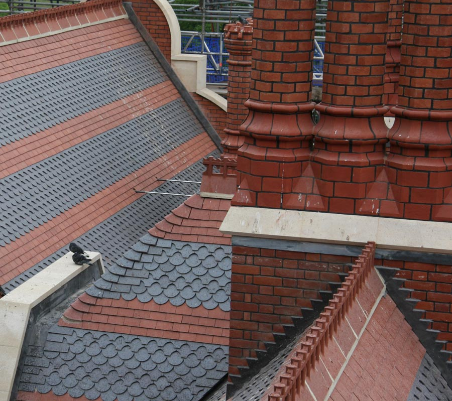 Athlone House reroofed with Staffs red and staffs blue plain and ornamental tiles