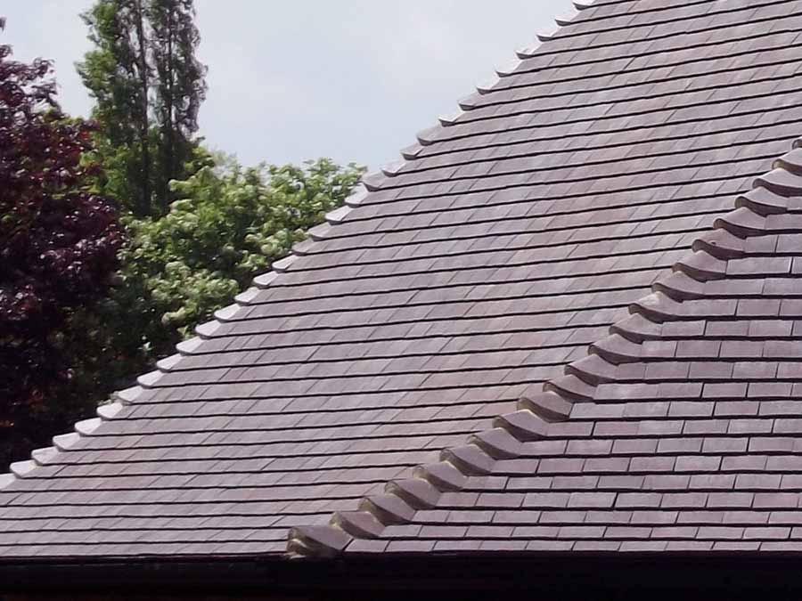 Classic Dark Heather Handformed Clay Roof Tiles