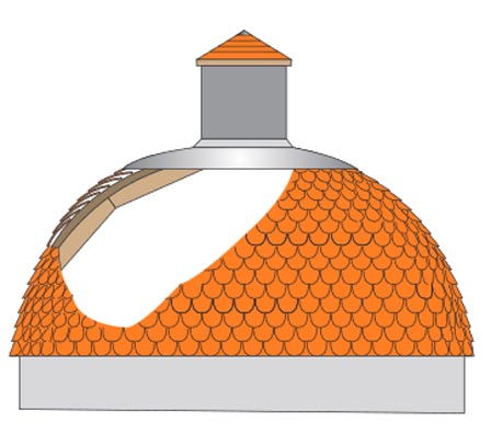 Domes part tiled roof showing substructure