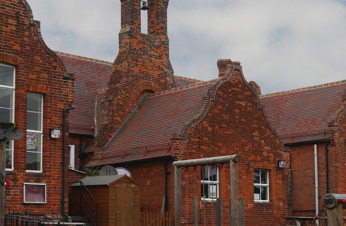 Dreadnought Purple Brown clay tiles reroof Finchingfield Primary School