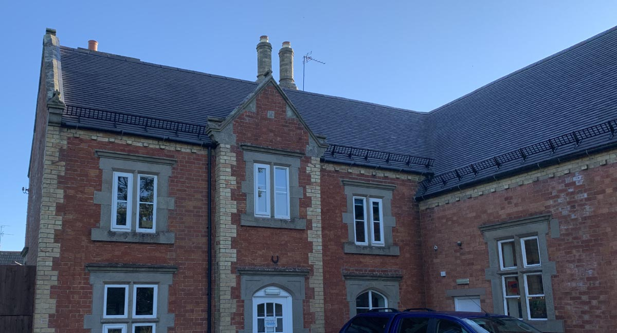 Evolution Centre reroofed with Staffordshire blue plain clay tiles