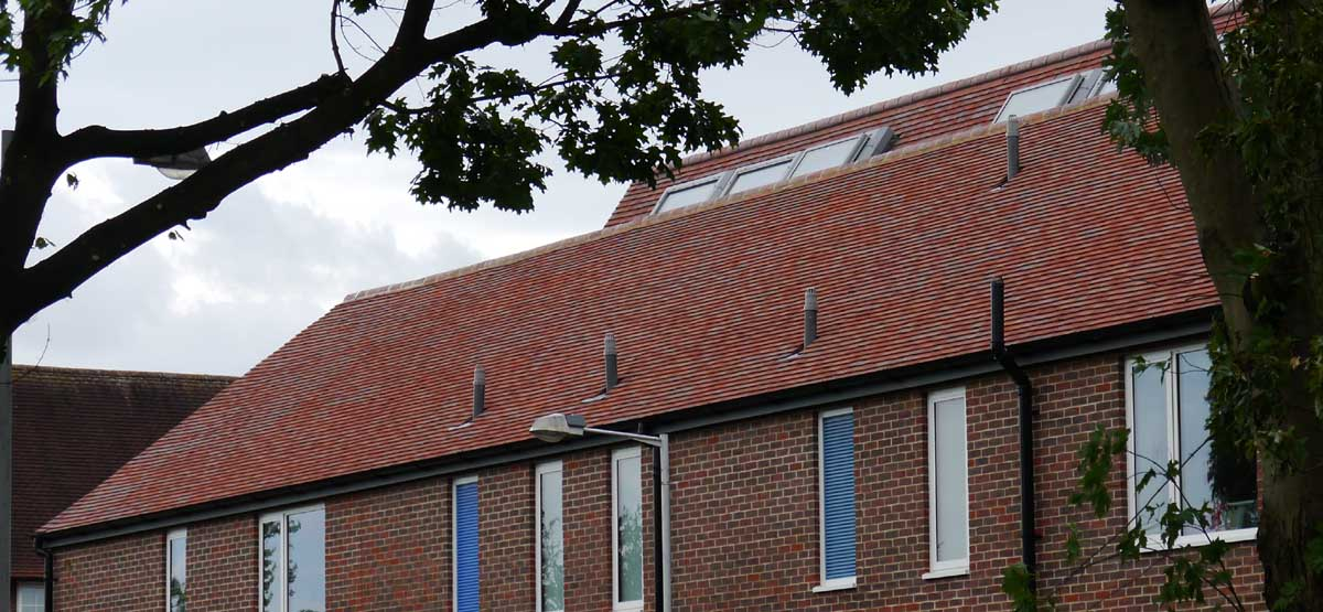 Purple brown handmade clay tiles on a new building at a primary school in Essex