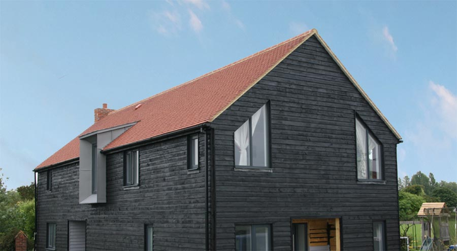 Red rustic roof ties on a selfbuild in Oxfordshire