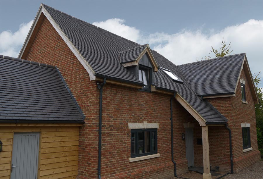 Staffordshire Blue Classic handmade tiles on a self build in Arlington