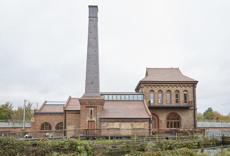 The engine house at Walthamstow Wetlands with Brown Brindle Swift Tower