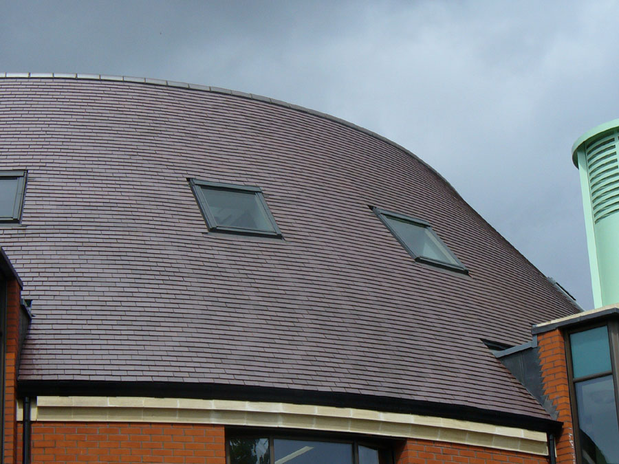 staffordshire blue clay roof tiles on swindon library - Curved Roof