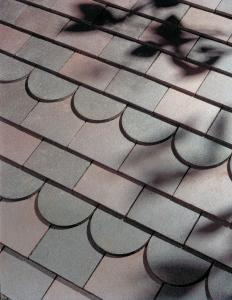 Dark heather sandfaced roof tiles