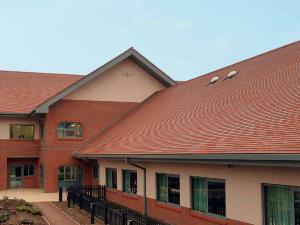 Dreadnought red blue blend clay tiles at Moseley Hospital